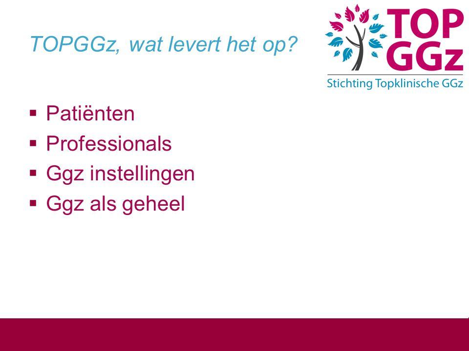 TOPGGz, wat levert het op?  Patiënten  Professionals  Ggz instellingen  Ggz als geheel