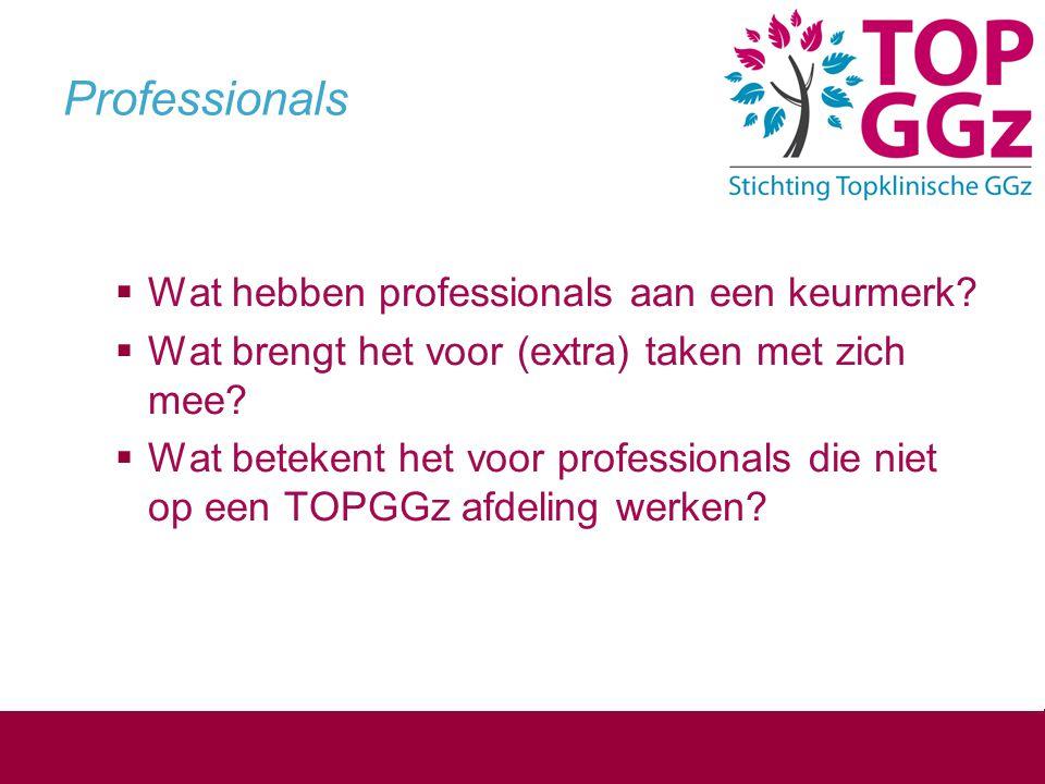 Professionals  Wat hebben professionals aan een keurmerk?  Wat brengt het voor (extra) taken met zich mee?  Wat betekent het voor professionals die