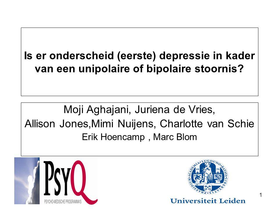 Is er onderscheid (eerste) depressie in kader van een unipolaire of bipolaire stoornis.