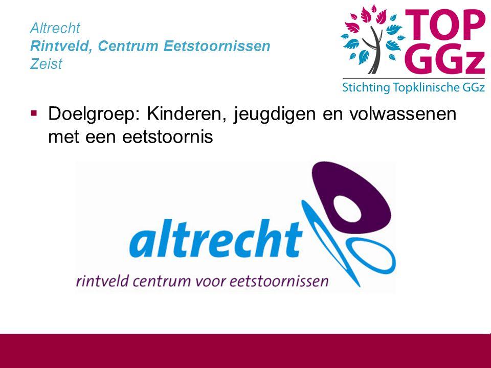 Altrecht Rintveld, Centrum Eetstoornissen Zeist  Doelgroep: Kinderen, jeugdigen en volwassenen met een eetstoornis