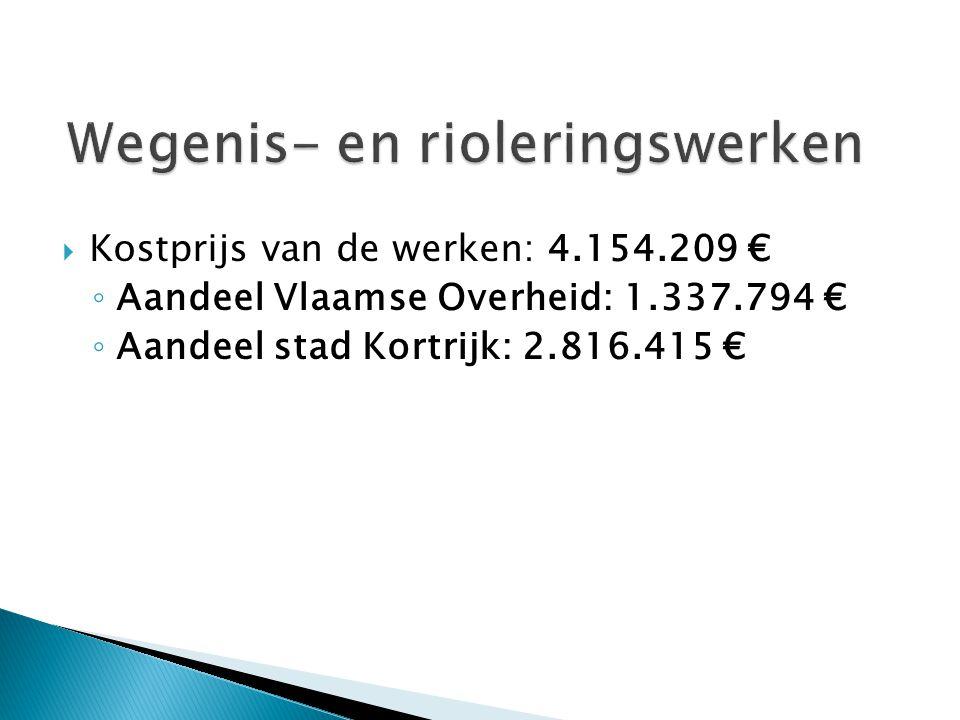  Kostprijs van de werken: 4.154.209 € ◦ Aandeel Vlaamse Overheid: 1.337.794 € ◦ Aandeel stad Kortrijk: 2.816.415 €