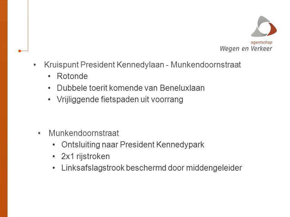Kruispunt President Kennedylaan - Munkendoornstraat Rotonde Dubbele toerit komende van Beneluxlaan Vrijliggende fietspaden uit voorrang Munkendoornstr
