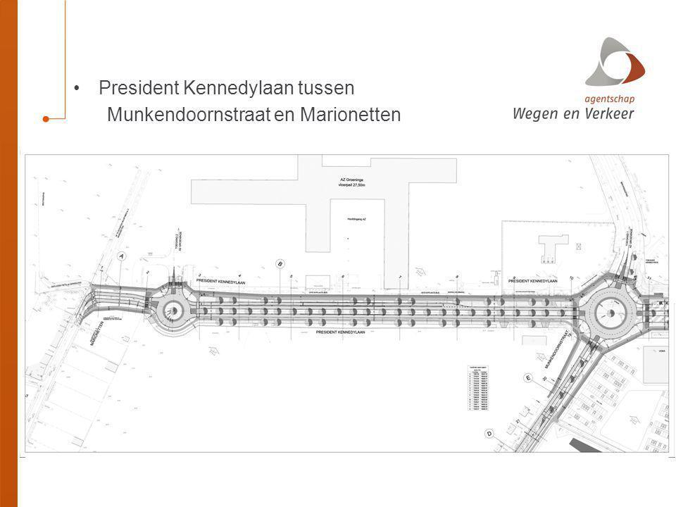 President Kennedylaan tussen Munkendoornstraat en Marionetten