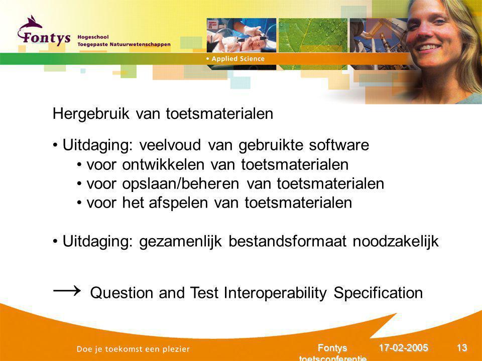 17-02-2005Fontys toetsconferentie 13 Hergebruik van toetsmaterialen Uitdaging: veelvoud van gebruikte software voor ontwikkelen van toetsmaterialen vo