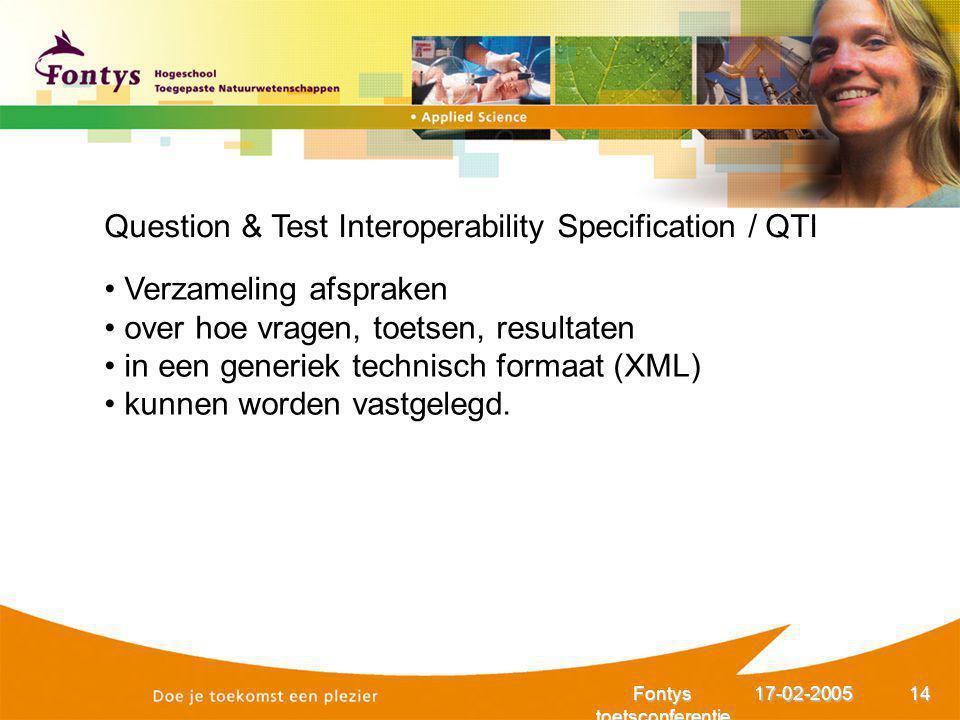 17-02-2005Fontys toetsconferentie 14 Question & Test Interoperability Specification / QTI Verzameling afspraken over hoe vragen, toetsen, resultaten i