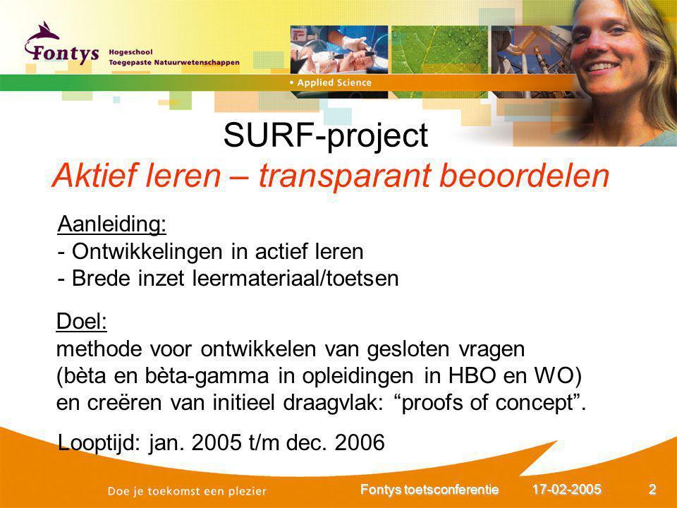 17-02-2005Fontys toetsconferentie2 Aanleiding: - Ontwikkelingen in actief leren - Brede inzet leermateriaal/toetsen Doel: methode voor ontwikkelen van