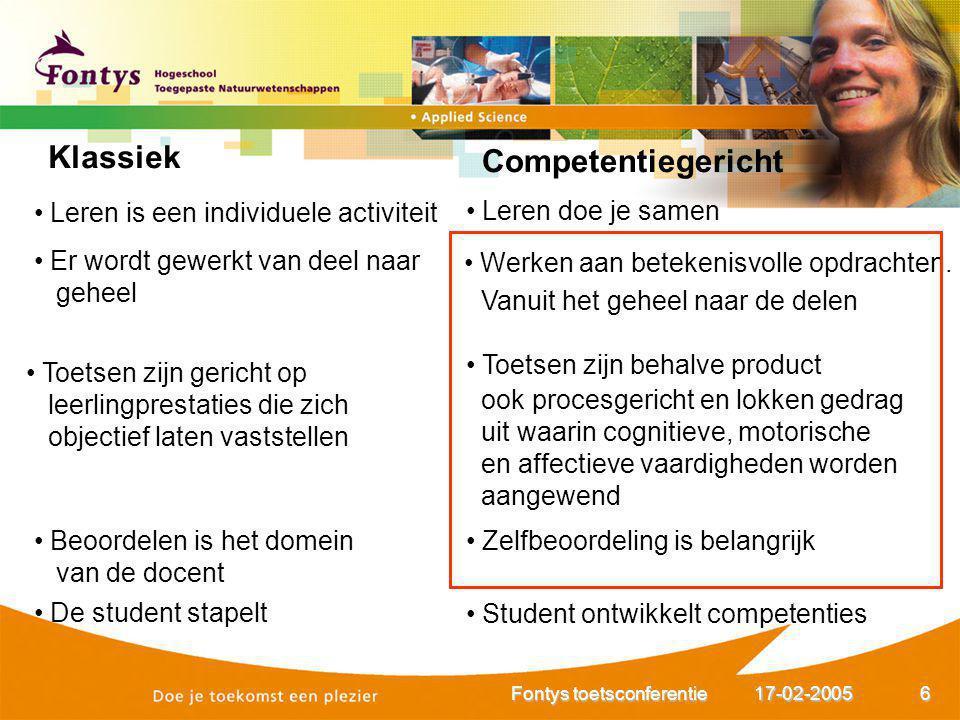 17-02-2005Fontys toetsconferentie7 Onderwijstransformatie Competentiegestuurd Sociaal constructivistisch Vraaggericht ICT-rijk