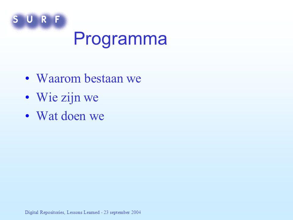 Digital Repositories, Lessons Learned - 23 september 2004 Meer weten.