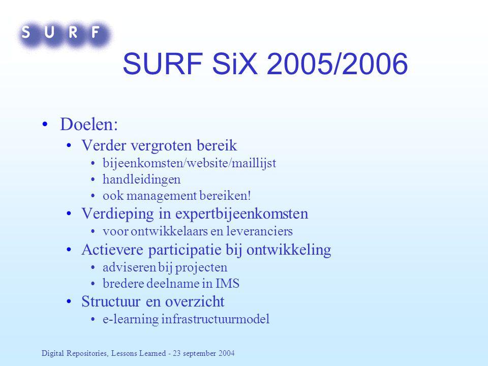 Digital Repositories, Lessons Learned - 23 september 2004 SURF SiX 2005/2006 Doelen: Verder vergroten bereik bijeenkomsten/website/maillijst handleidingen ook management bereiken.