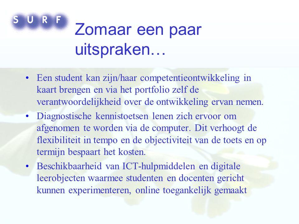 Digital Repositories, Lessons Learned - 23 september 2004 Zomaar een paar uitspraken… Een student kan zijn/haar competentieontwikkeling in kaart brengen en via het portfolio zelf de verantwoordelijkheid over de ontwikkeling ervan nemen.