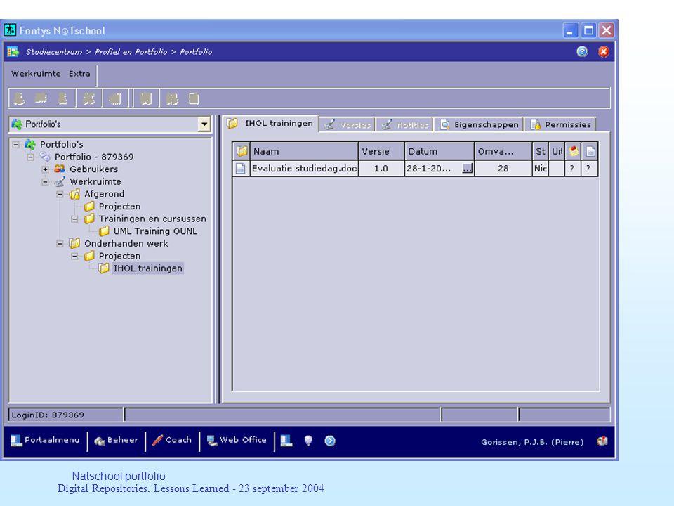 Digital Repositories, Lessons Learned - 23 september 2004 Leertechnologie-afspraken Het geheel van afspraken en technieken die de realisatie van e-learning ondersteunen.