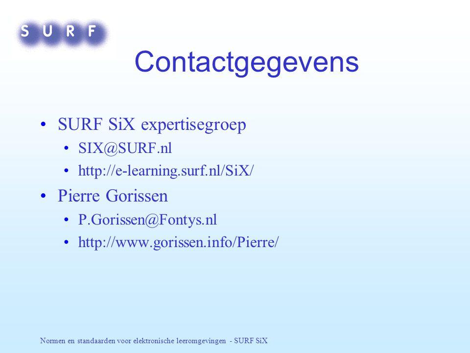 Normen en standaarden voor elektronische leeromgevingen - SURF SiX Contactgegevens SURF SiX expertisegroep SIX@SURF.nl http://e-learning.surf.nl/SiX/ Pierre Gorissen P.Gorissen@Fontys.nl http://www.gorissen.info/Pierre/