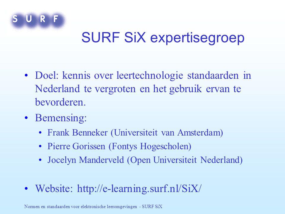 Normen en standaarden voor elektronische leeromgevingen - SURF SiX SURF SiX expertisegroep Doel: kennis over leertechnologie standaarden in Nederland te vergroten en het gebruik ervan te bevorderen.