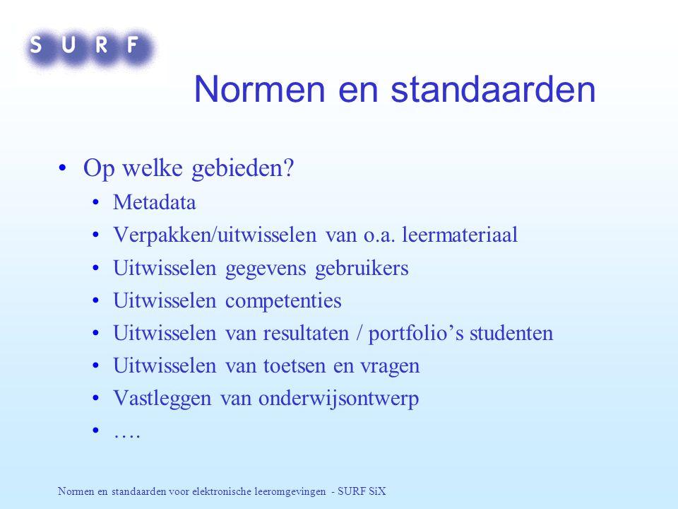 Normen en standaarden voor elektronische leeromgevingen - SURF SiX Meer informatie… SURF SiX expertisegroep - http://e-learning.surf.nl/SiX/ NEN Normcommissie Onderwijstechnologieën - http://www.nen.nl/nl/act/spec/leertech/ IMS - http://www.imsglobal.org/ CETIS - http://www.cetis.ac.uk/ ADL - http://adlnet.org/ IEEE - http://ltsc.ieee.org/wg12/ - http://www.cs.kuleuven.ac.be/~erikd/LOM/ Dubin Core - http://dublincore.org/ CanCore - http://www.cancore.ca/ ISO/IEC - http://jtc1sc36.org/