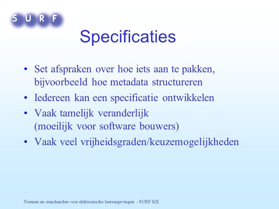 Normen en standaarden voor elektronische leeromgevingen - SURF SiX IMS Levert veel specificaties af Leden-organisatie; iedereen kan lid worden; NL 2 + 1 leden / België .
