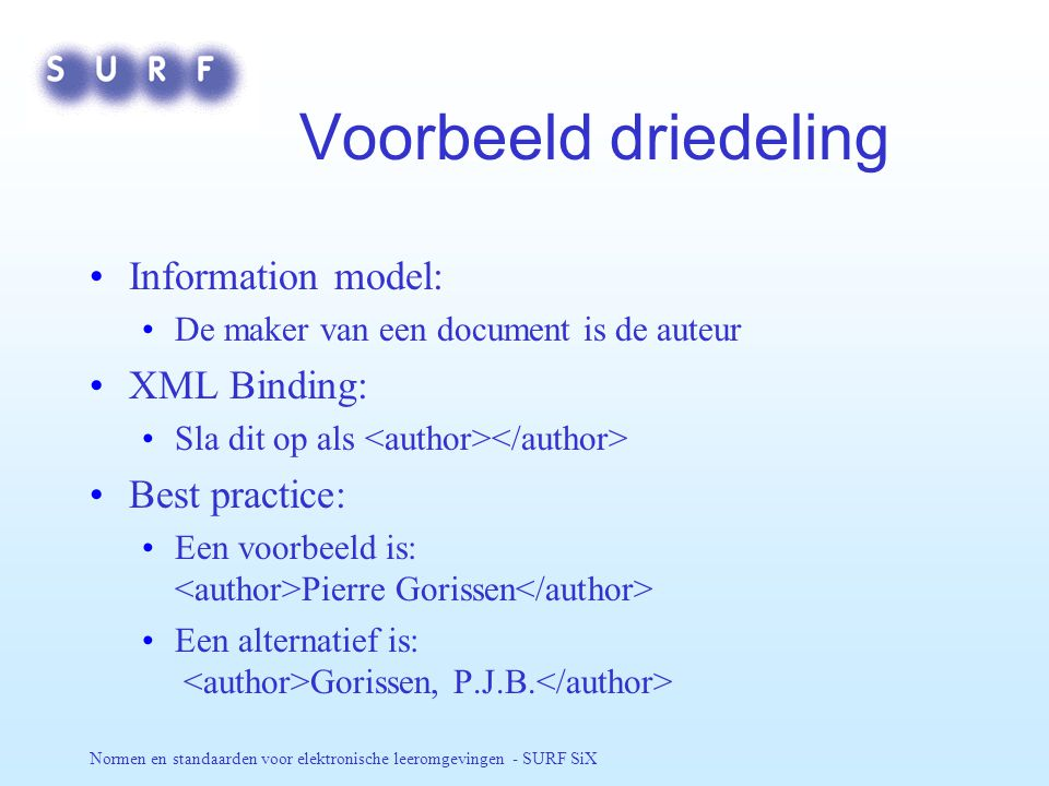Normen en standaarden voor elektronische leeromgevingen - SURF SiX Voorbeeld driedeling Information model: De maker van een document is de auteur XML Binding: Sla dit op als Best practice: Een voorbeeld is: Pierre Gorissen Een alternatief is: Gorissen, P.J.B.