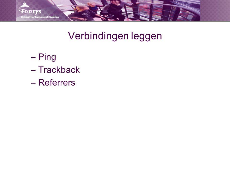 Verbindingen leggen –Ping –Trackback –Referrers