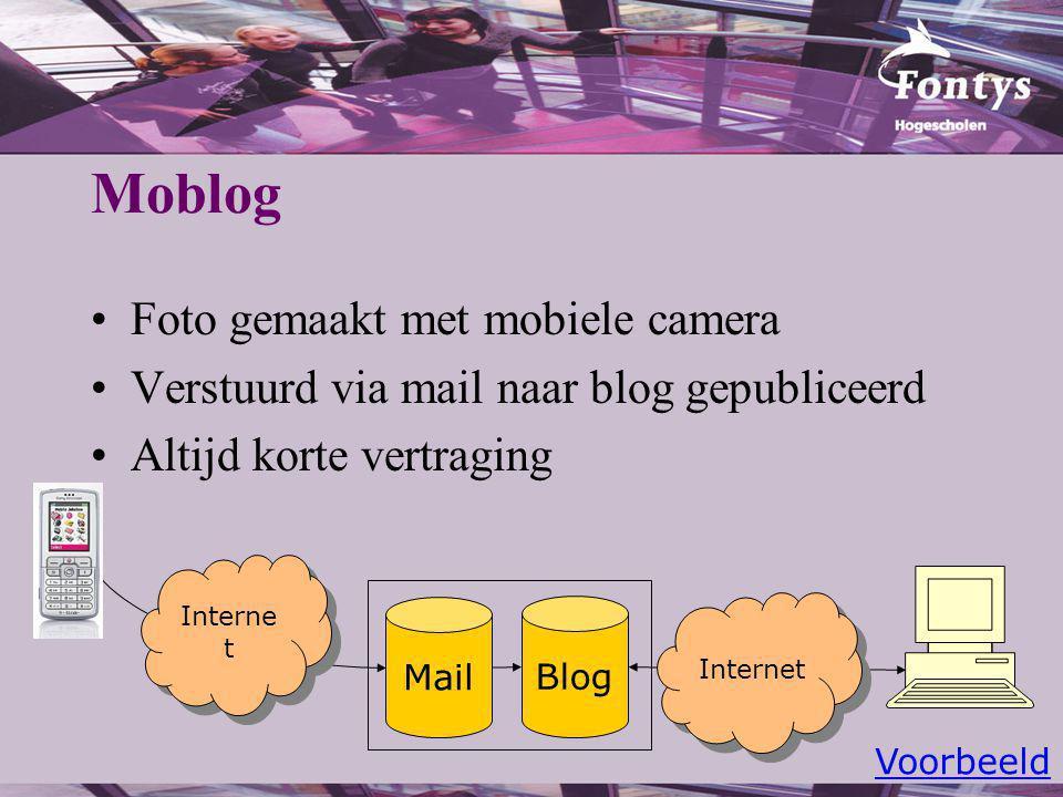 Moblog Foto gemaakt met mobiele camera Verstuurd via mail naar blog gepubliceerd Altijd korte vertraging Mail Blog Interne t Voorbeeld