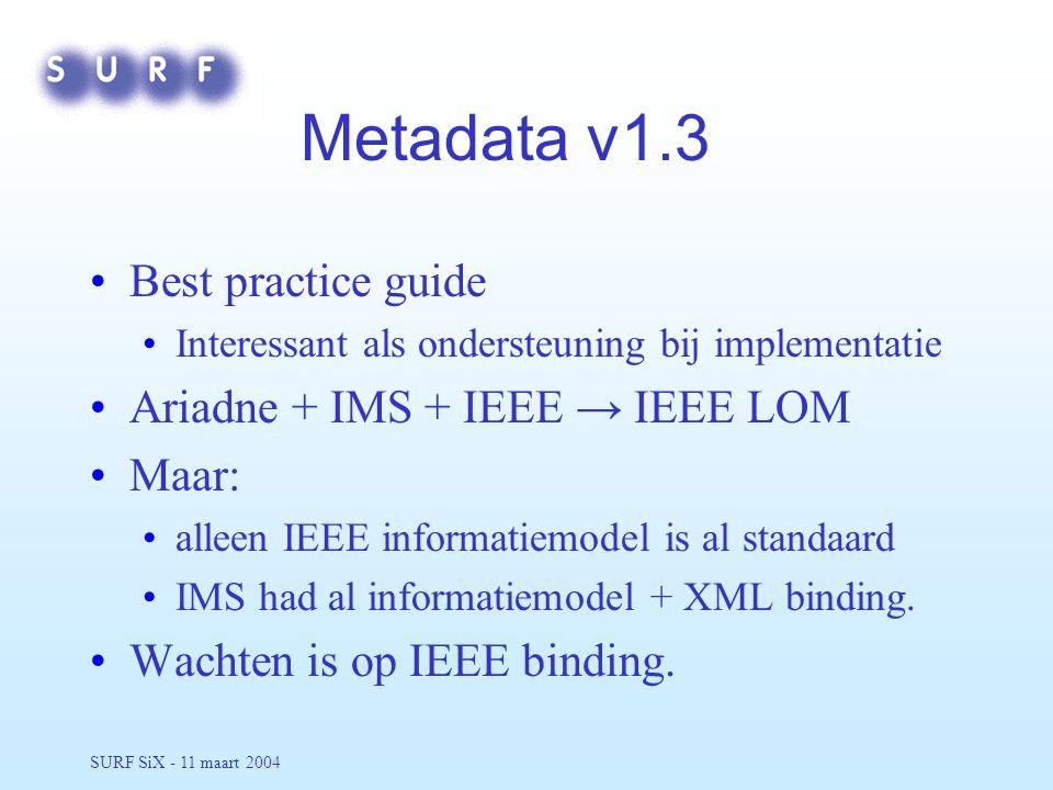 SURF SiX - 11 maart 2004 Metadata v1.3 Best practice guide Interessant als ondersteuning bij implementatie Ariadne + IMS + IEEE → IEEE LOM Maar: alleen IEEE informatiemodel is al standaard IMS had al informatiemodel + XML binding.