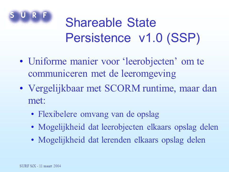 SURF SiX - 11 maart 2004 Shareable State Persistence v1.0 (SSP) Uniforme manier voor 'leerobjecten' om te communiceren met de leeromgeving Vergelijkbaar met SCORM runtime, maar dan met: Flexibelere omvang van de opslag Mogelijkheid dat leerobjecten elkaars opslag delen Mogelijkheid dat lerenden elkaars opslag delen