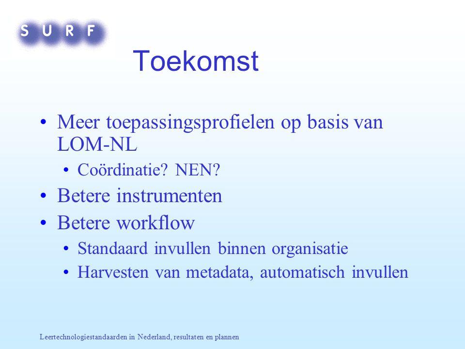 Leertechnologiestandaarden in Nederland, resultaten en plannen Toekomst Meer toepassingsprofielen op basis van LOM-NL Coördinatie? NEN? Betere instrum