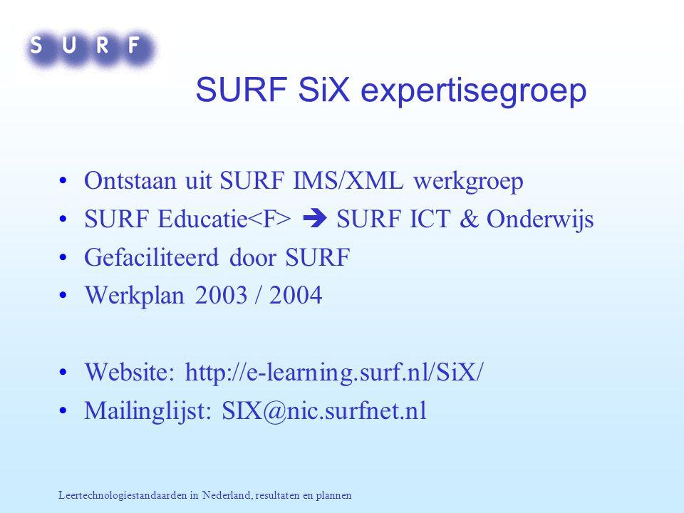 Leertechnologiestandaarden in Nederland, resultaten en plannen SURF SiX expertisegroep Ontstaan uit SURF IMS/XML werkgroep SURF Educatie  SURF ICT &