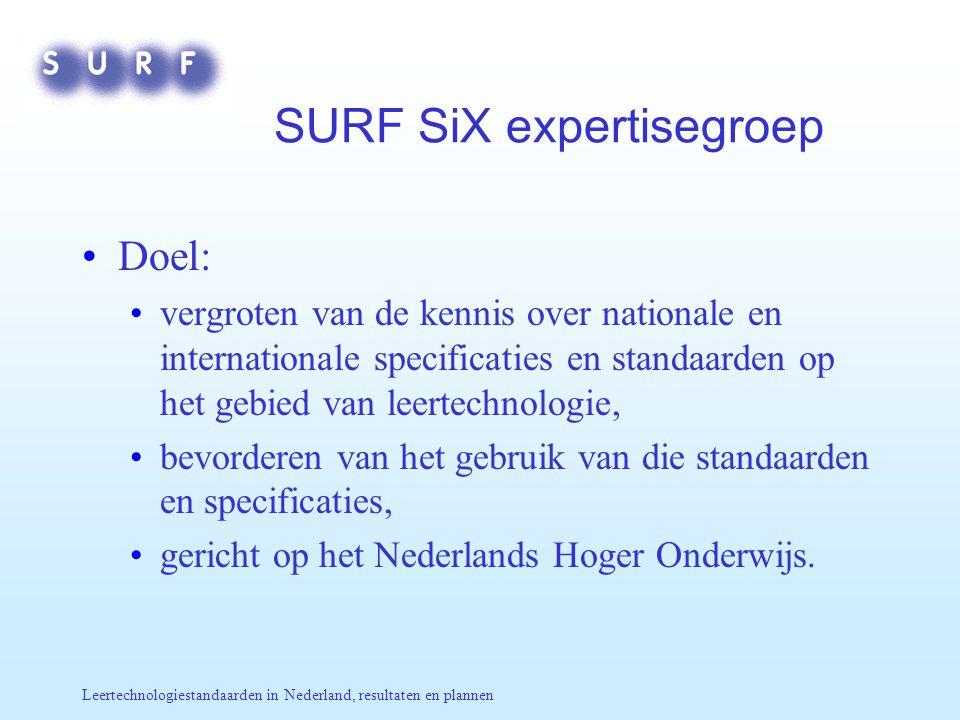 Leertechnologiestandaarden in Nederland, resultaten en plannen SURF SiX expertisegroep Doel: vergroten van de kennis over nationale en internationale specificaties en standaarden op het gebied van leertechnologie, bevorderen van het gebruik van die standaarden en specificaties, gericht op het Nederlands Hoger Onderwijs.