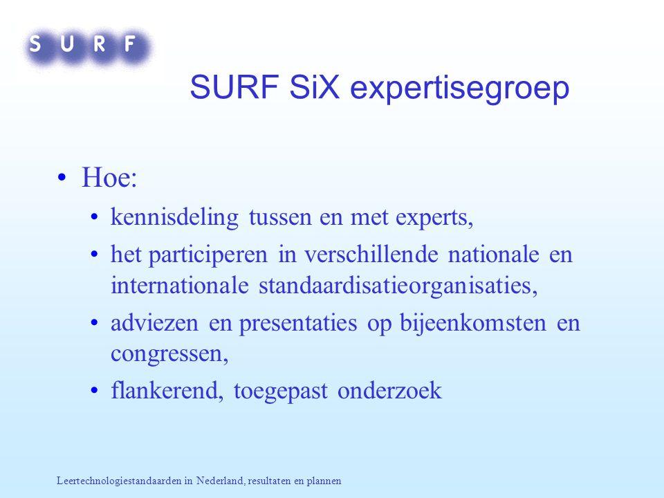 Leertechnologiestandaarden in Nederland, resultaten en plannen SURF SiX expertisegroep Hoe: kennisdeling tussen en met experts, het participeren in ve