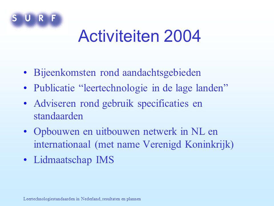 Leertechnologiestandaarden in Nederland, resultaten en plannen Activiteiten 2004 Bijeenkomsten rond aandachtsgebieden Publicatie leertechnologie in de lage landen Adviseren rond gebruik specificaties en standaarden Opbouwen en uitbouwen netwerk in NL en internationaal (met name Verenigd Koninkrijk) Lidmaatschap IMS