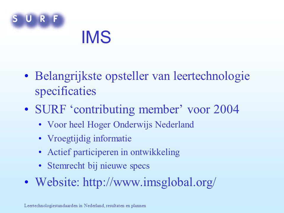 Leertechnologiestandaarden in Nederland, resultaten en plannen IMS Belangrijkste opsteller van leertechnologie specificaties SURF 'contributing member