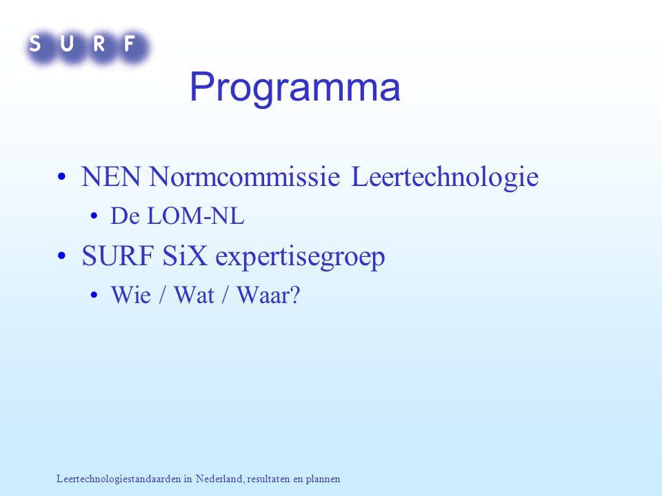 Leertechnologiestandaarden in Nederland, resultaten en plannen Programma NEN Normcommissie Leertechnologie De LOM-NL SURF SiX expertisegroep Wie / Wat / Waar