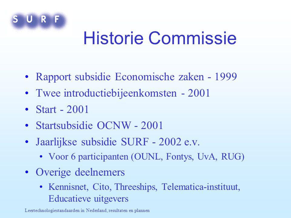 Leertechnologiestandaarden in Nederland, resultaten en plannen Historie Commissie Rapport subsidie Economische zaken - 1999 Twee introductiebijeenkomsten - 2001 Start - 2001 Startsubsidie OCNW - 2001 Jaarlijkse subsidie SURF - 2002 e.v.