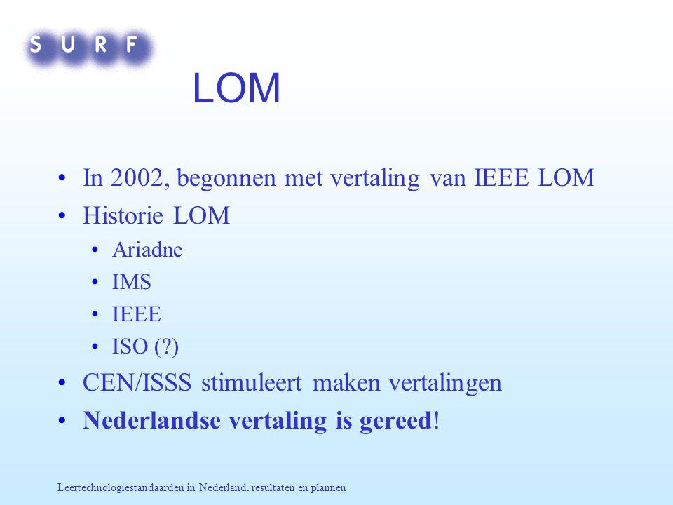 Leertechnologiestandaarden in Nederland, resultaten en plannen LOM In 2002, begonnen met vertaling van IEEE LOM Historie LOM Ariadne IMS IEEE ISO ( ) CEN/ISSS stimuleert maken vertalingen Nederlandse vertaling is gereed!