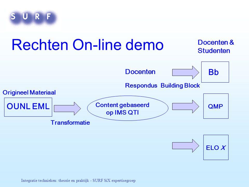 Integratie technieken: theorie en praktijk - SURF SiX expertisegroep Rechten On-line demo OUNL EML Content gebaseerd op IMS QTI Origineel Materiaal Tr