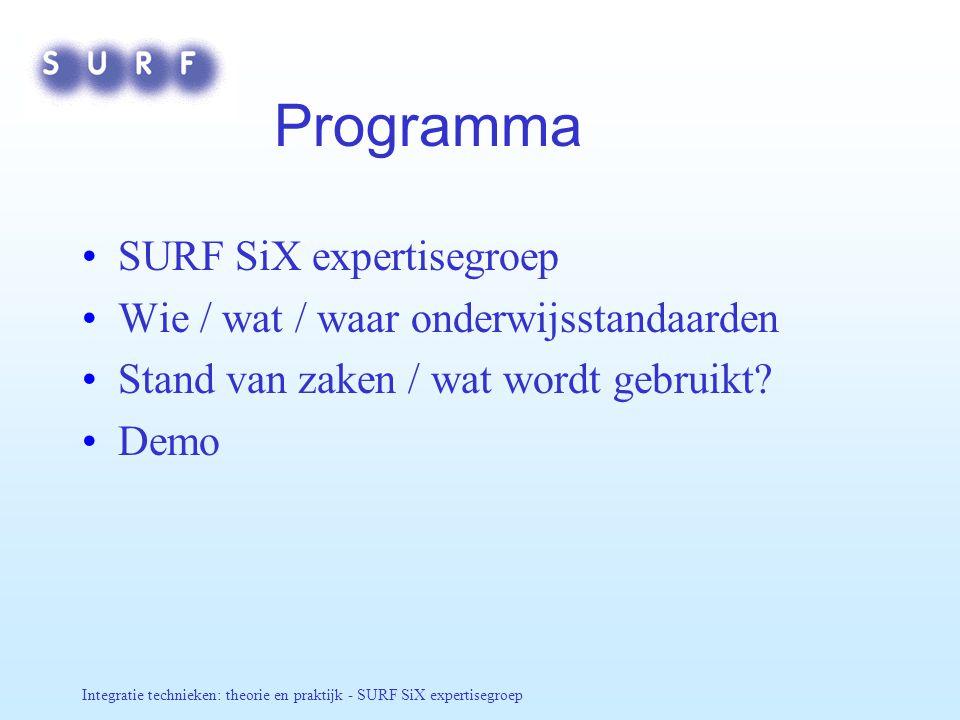 Integratie technieken: theorie en praktijk - SURF SiX expertisegroep Programma SURF SiX expertisegroep Wie / wat / waar onderwijsstandaarden Stand van