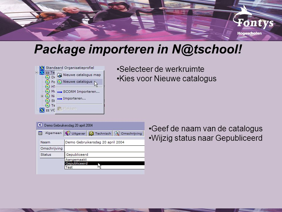 Package importeren in N@tschool.
