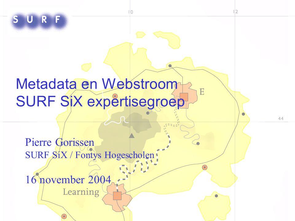Introductie SURF SiX Onderdeel van SURF ICT & Onderwijs Leertechnologie-afspraken Drie themagebieden: –Educatieve Content ; Jocelyn Manderveld (OUNL) –Assessment; Pierre Gorissen (Fontys) –Studentinformatie en Portfolio's; Frank Benneker (UvA) Website: http://e-learning.surf.nl/SiX/