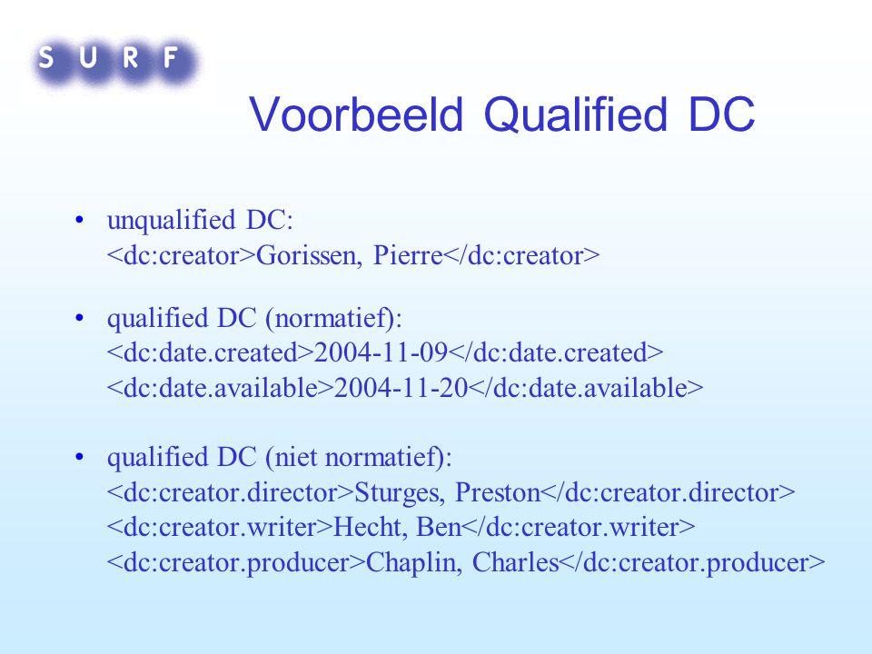 Voorbeeld Qualified DC unqualified DC: Gorissen, Pierre qualified DC (normatief): 2004-11-09 2004-11-20 qualified DC (niet normatief): Sturges, Preston Hecht, Ben Chaplin, Charles