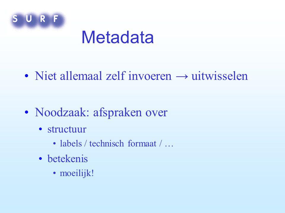 Metadata Niet allemaal zelf invoeren → uitwisselen Noodzaak: afspraken over structuur labels / technisch formaat / … betekenis moeilijk!