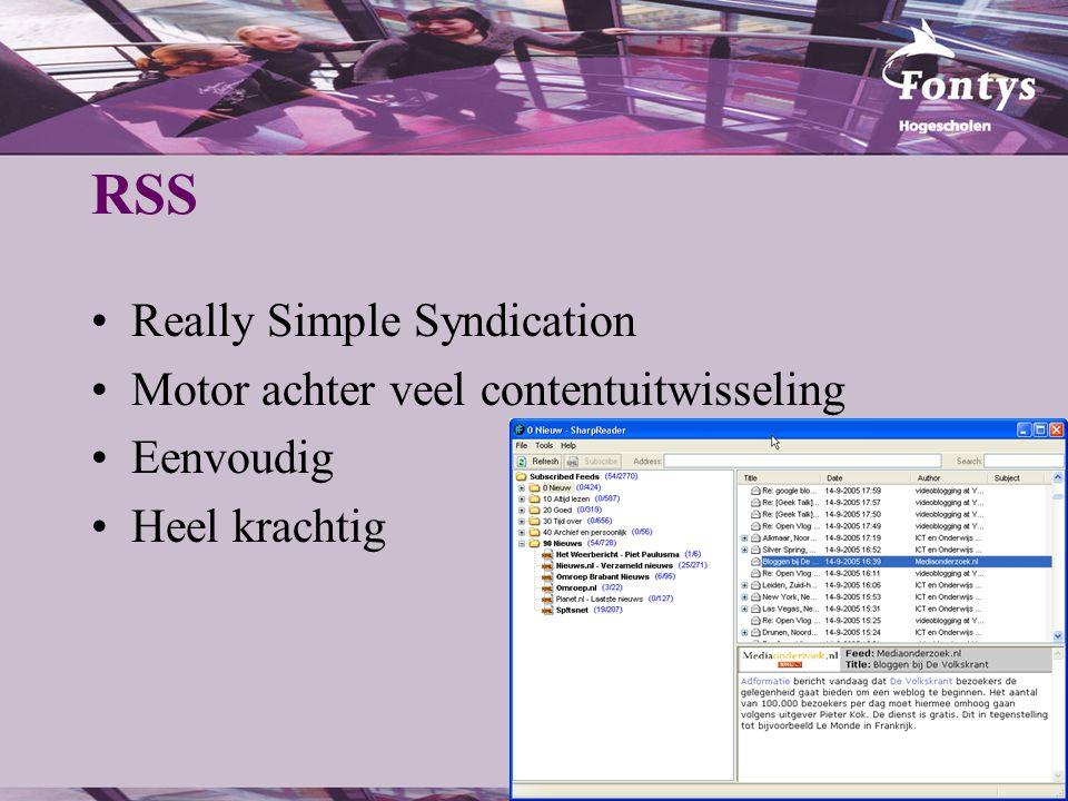 RSS Really Simple Syndication Motor achter veel contentuitwisseling Eenvoudig Heel krachtig