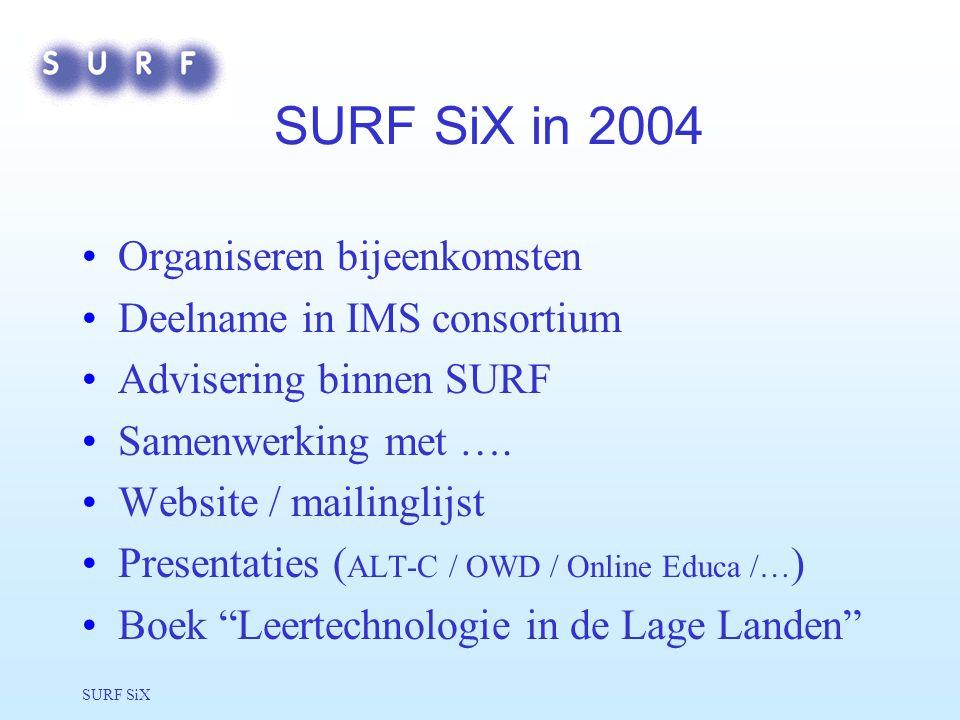 SURF SiX SURF SiX in 2004 Organiseren bijeenkomsten Deelname in IMS consortium Advisering binnen SURF Samenwerking met ….
