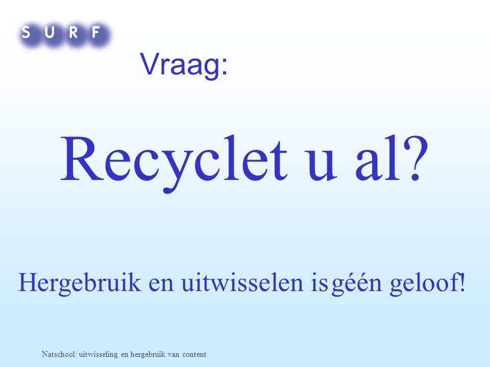 Natschool: uitwisseling en hergebruik van content Vraag: Recyclet u al? Hergebruik en uitwisselen is géén geloof!