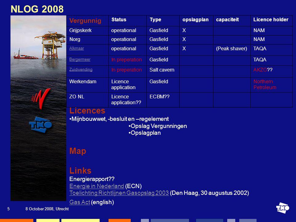 8 October 2008, Utrecht5 NLOG 2008 Licences Mijnbouwwet, -besluit en –regelement Opslag Vergunningen Opslagplan Map Links Energierapport .