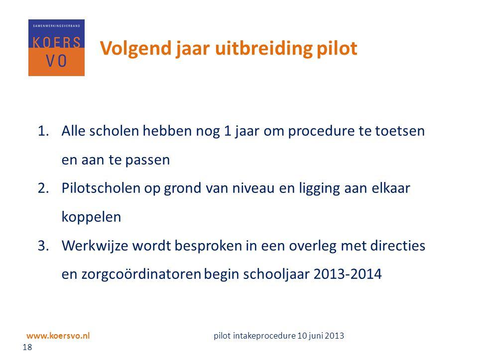 www.koersvo.nl pilot intakeprocedure 10 juni 2013 18 Volgend jaar uitbreiding pilot 1.Alle scholen hebben nog 1 jaar om procedure te toetsen en aan te