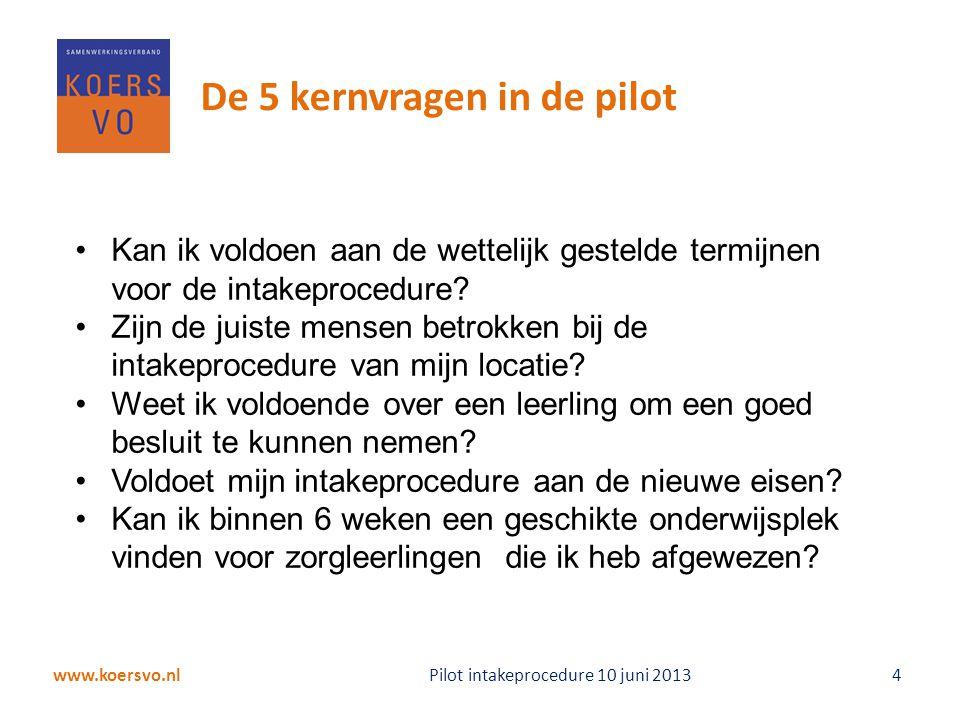 www.koersvo.nl Pilot intakeprocedure 10 juni 2013 4 De 5 kernvragen in de pilot Kan ik voldoen aan de wettelijk gestelde termijnen voor de intakeproce