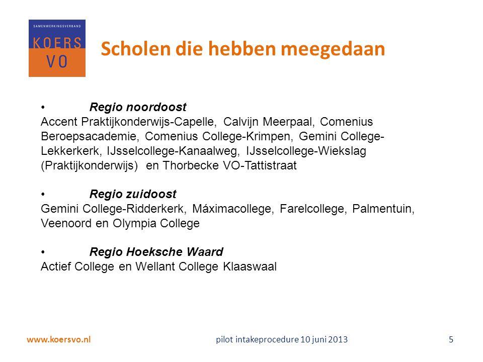 www.koersvo.nl pilot intakeprocedure 10 juni 2013 5 Scholen die hebben meegedaan Regio noordoost Accent Praktijkonderwijs-Capelle, Calvijn Meerpaal, C