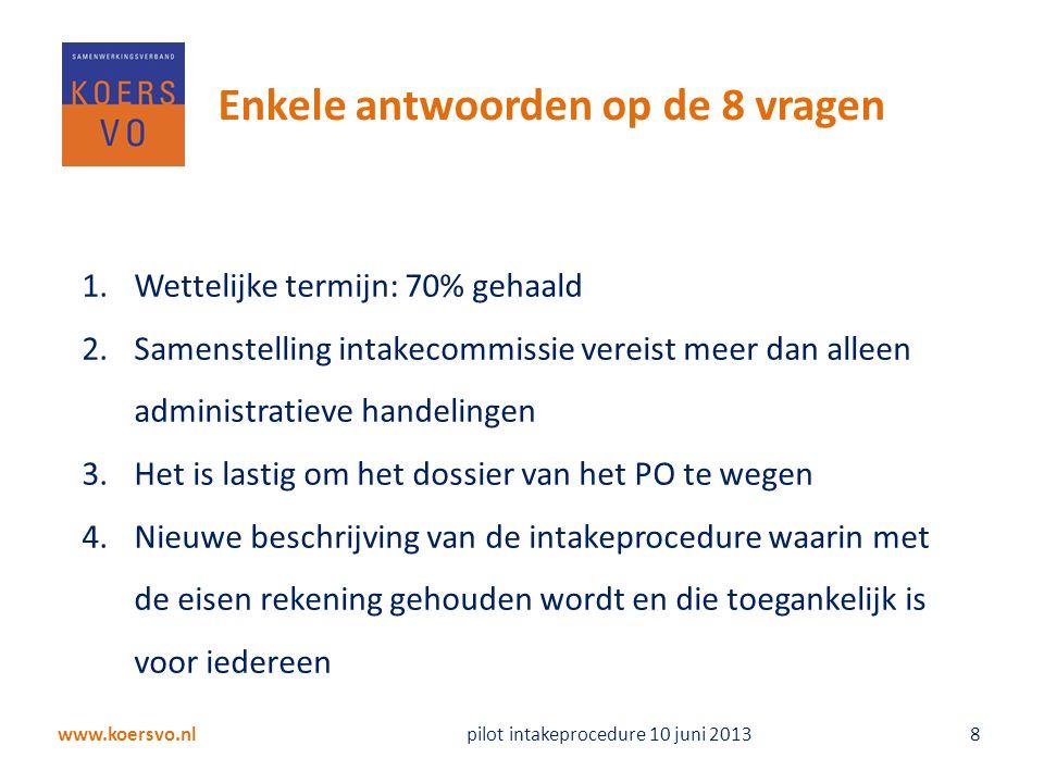 www.koersvo.nl pilot intakeprocedure 10 juni 2013 8 Enkele antwoorden op de 8 vragen 1.Wettelijke termijn: 70% gehaald 2.Samenstelling intakecommissie