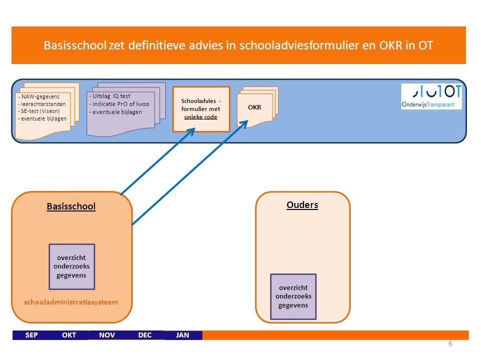Onderzoeksbureau Basisschool schooladministratiesysteem 5 Ouders NOVDEC - Uitslag IQ test - Indicatie PrO of lwoo - eventuele bijlagen - NAW-gegevens