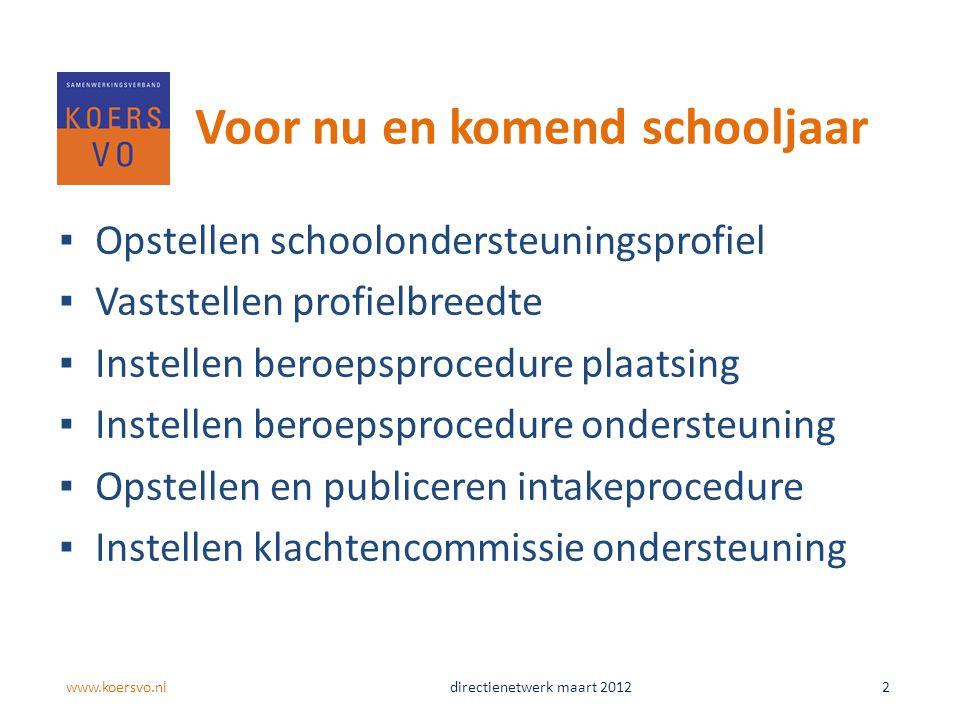 Voor nu en komend schooljaar ▪Opstellen schoolondersteuningsprofiel ▪Vaststellen profielbreedte ▪Instellen beroepsprocedure plaatsing ▪Instellen beroe