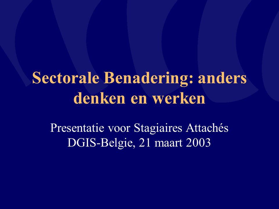 Sectorale Benadering: anders denken en werken Presentatie voor Stagiaires Attachés DGIS-Belgie, 21 maart 2003